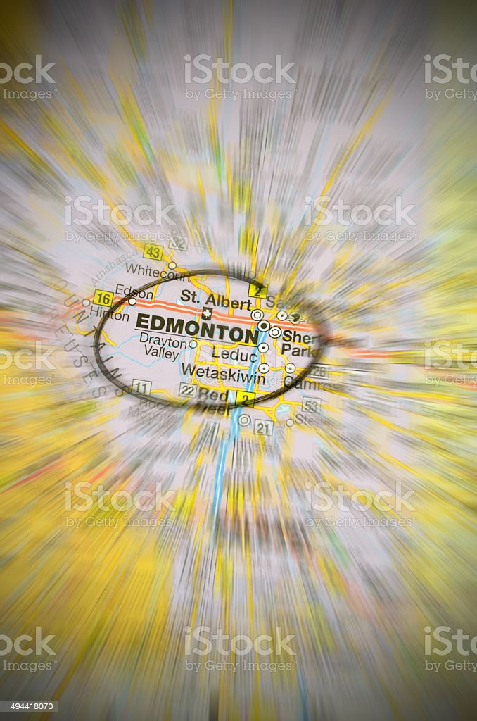 Map of Edmonton, Alberta, Canada- zoom applied stock photo