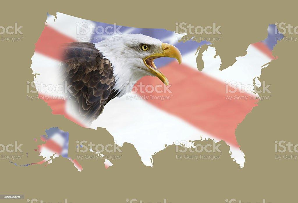 Mapa de EEUU, eagle, bandera - foto de stock