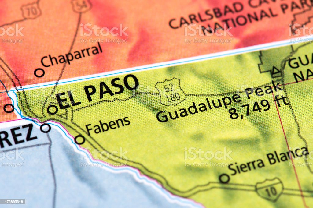 Map Of El Paso Texas State In Usa Stock Photo More Pictures of