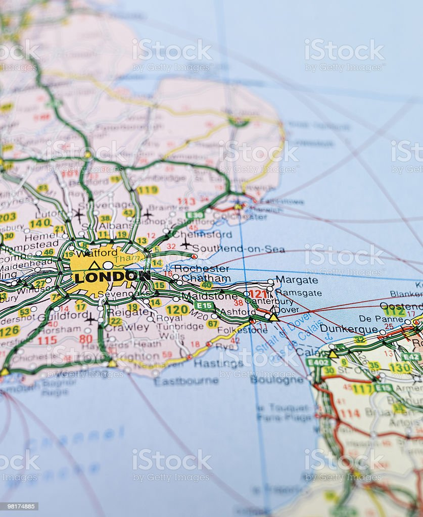 London Map Of England.Map Of England Focused On London Stock Photo Download Image Now