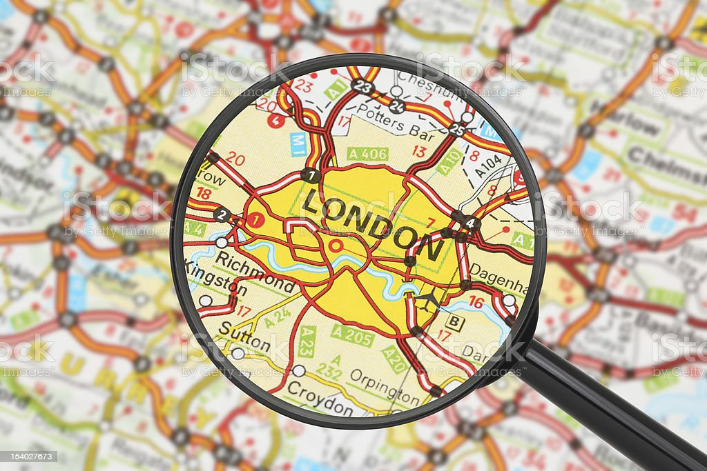 Map of England with magnifying glass on London stock photo