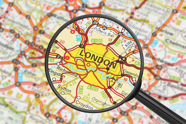 Karte von England mit Lupe auf London – Foto