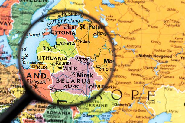 mapa estonii, łotwy, litwy i białorusi - białoruś zdjęcia i obrazy z banku zdjęć