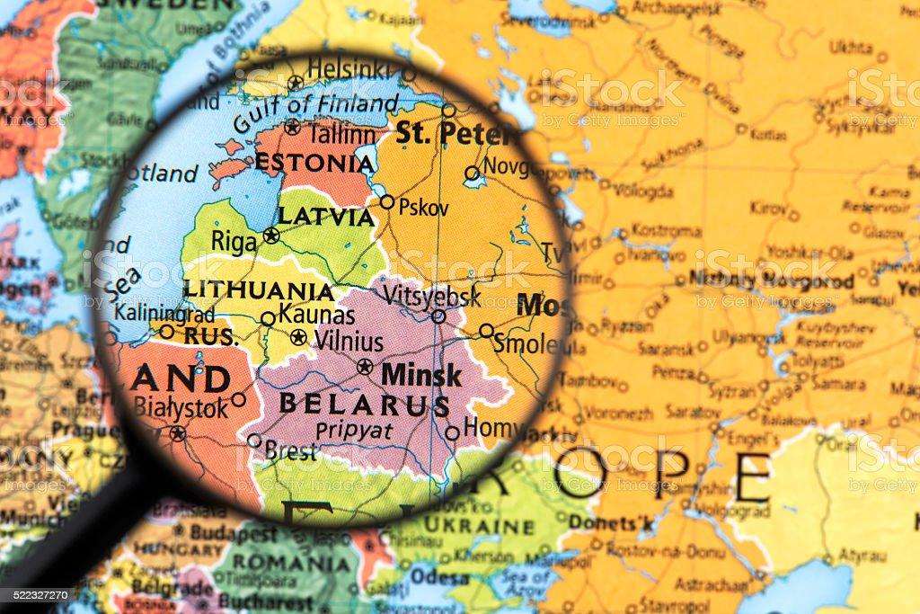 Map of Estonia, Latvia, Lithuania and Belarus stock photo