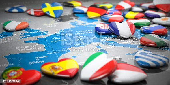 istock Map of Europe  and hearts with flags of european countries. Travel  and tourism to European Union EU concept. 1219583078
