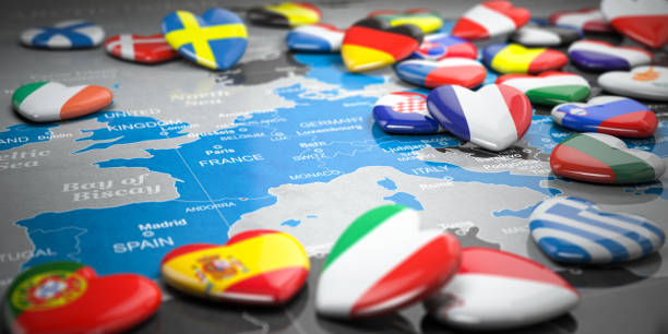 Map of Europe  and hearts with flags of european countries. Travel  and tourism to European Union EU concept. stock photo
