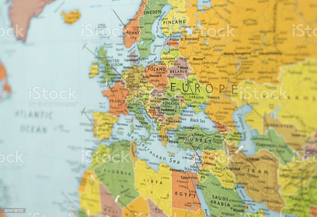 Map Of Europe And Part Of Middle East And Africa Stock Photo ...