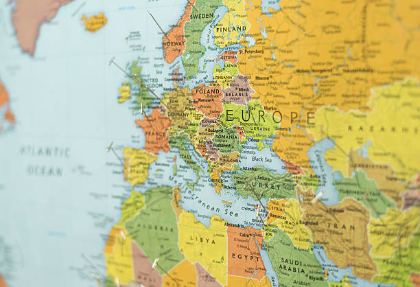 map of europe and part of middle east and africa stock photo