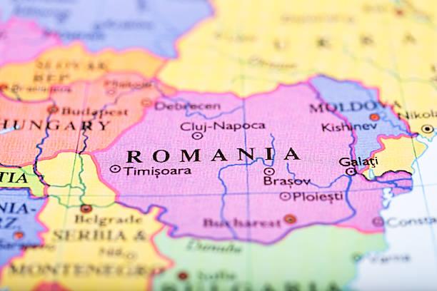 mapa da europa centralizado na romênia - romênia - fotografias e filmes do acervo