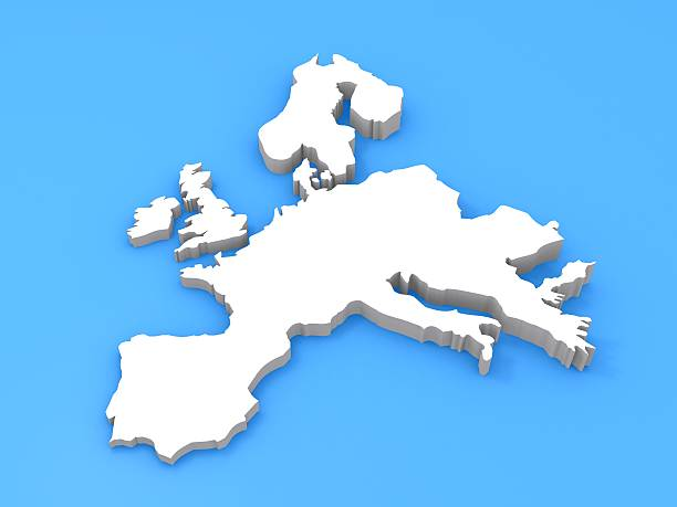 3D map of Europe - France, Italy, Spain, Germany ... stock photo