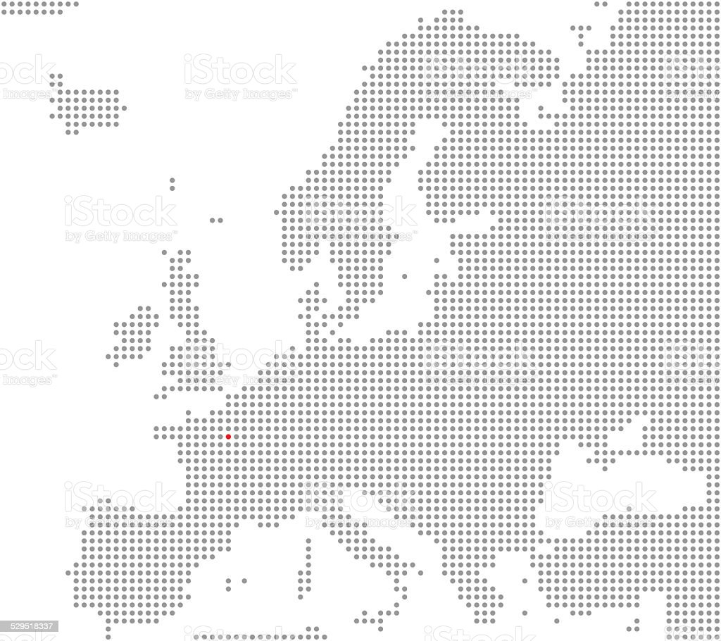 Map of Europe: Paris is here stock photo