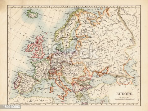 Antique Map Of Europe Dated 1895. Digitally Remastered by Nicholas Free 2011.