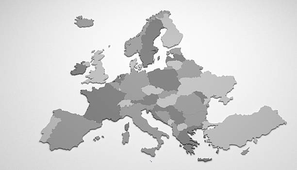 3D map of Europe stock photo