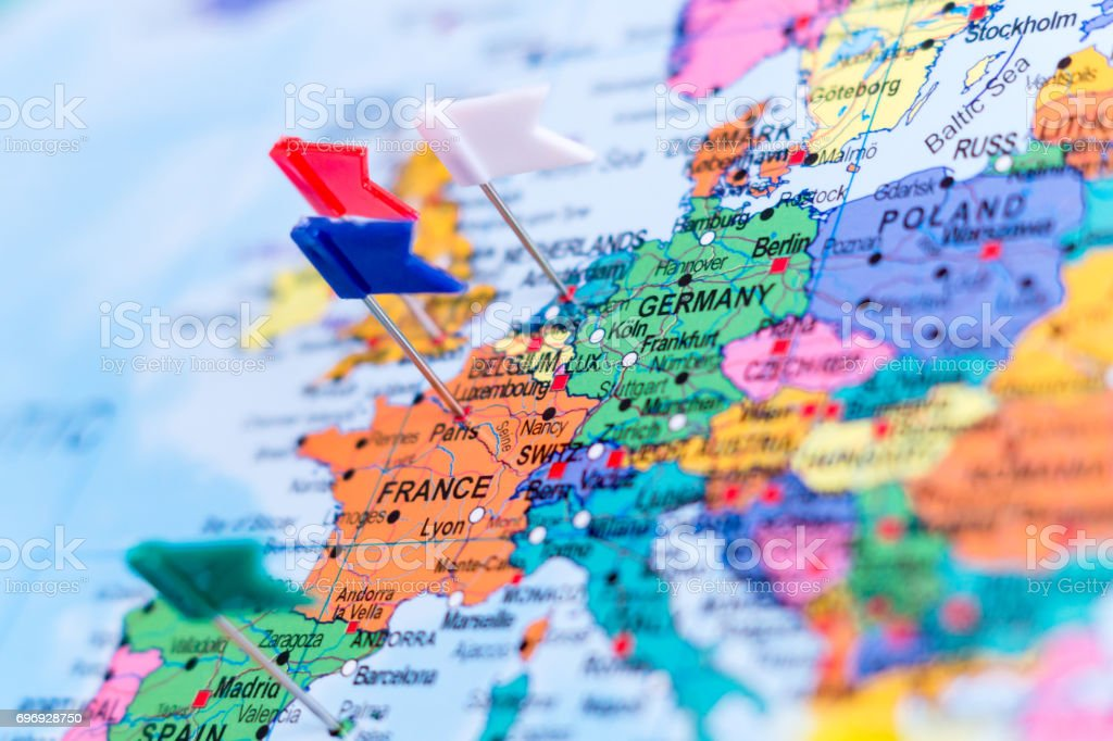Map of Europe with Pins, shallow Focus stock photo