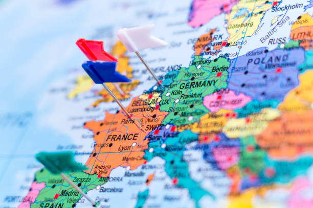 map of europe with pins, shallow focus - europe map stock photos and pictures