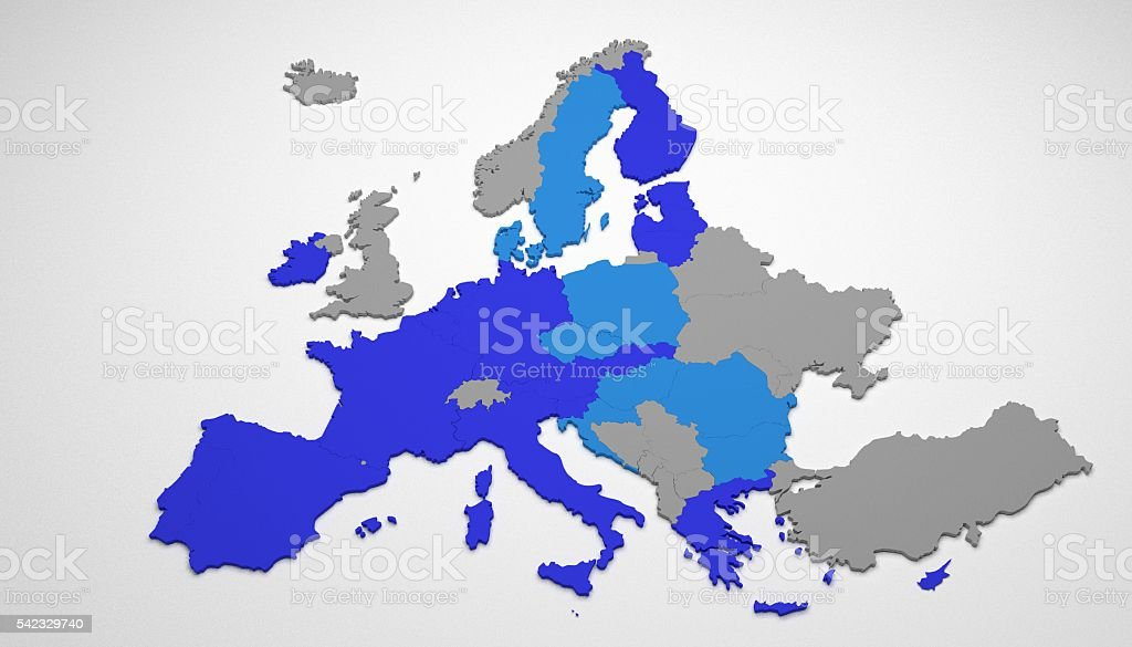 3D map of European Union stock photo