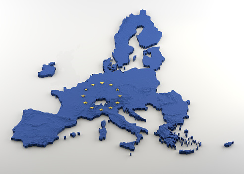 istock 3D Map of European Union post-Brexit (without UK) with EU blue flag texture and gold stars 1146111981