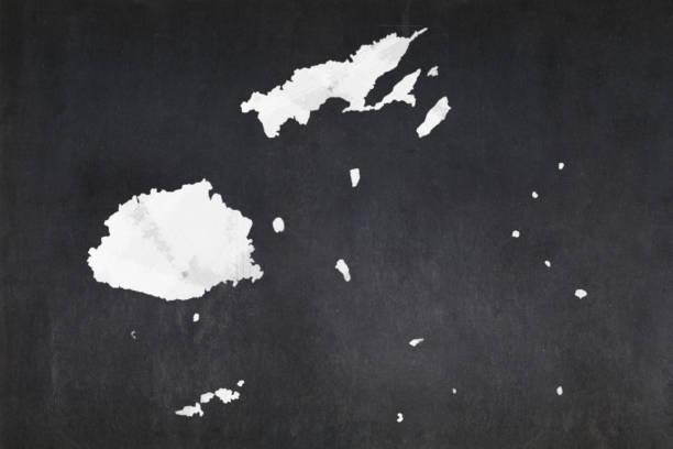 Map of Fiji drawn on a blackboard stock photo