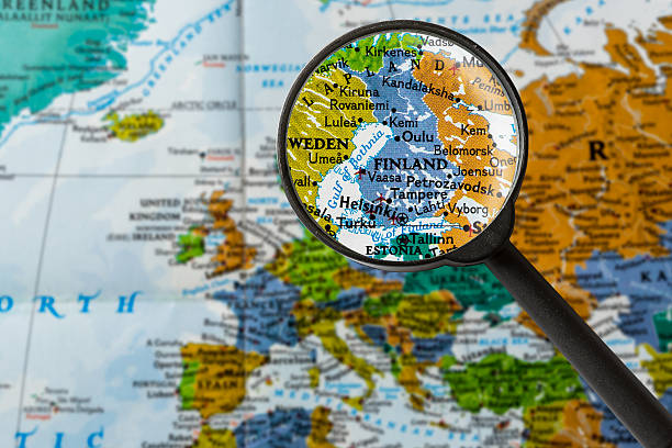 Map of Finland map of Finland through magnifying glass low scale magnification stock pictures, royalty-free photos & images