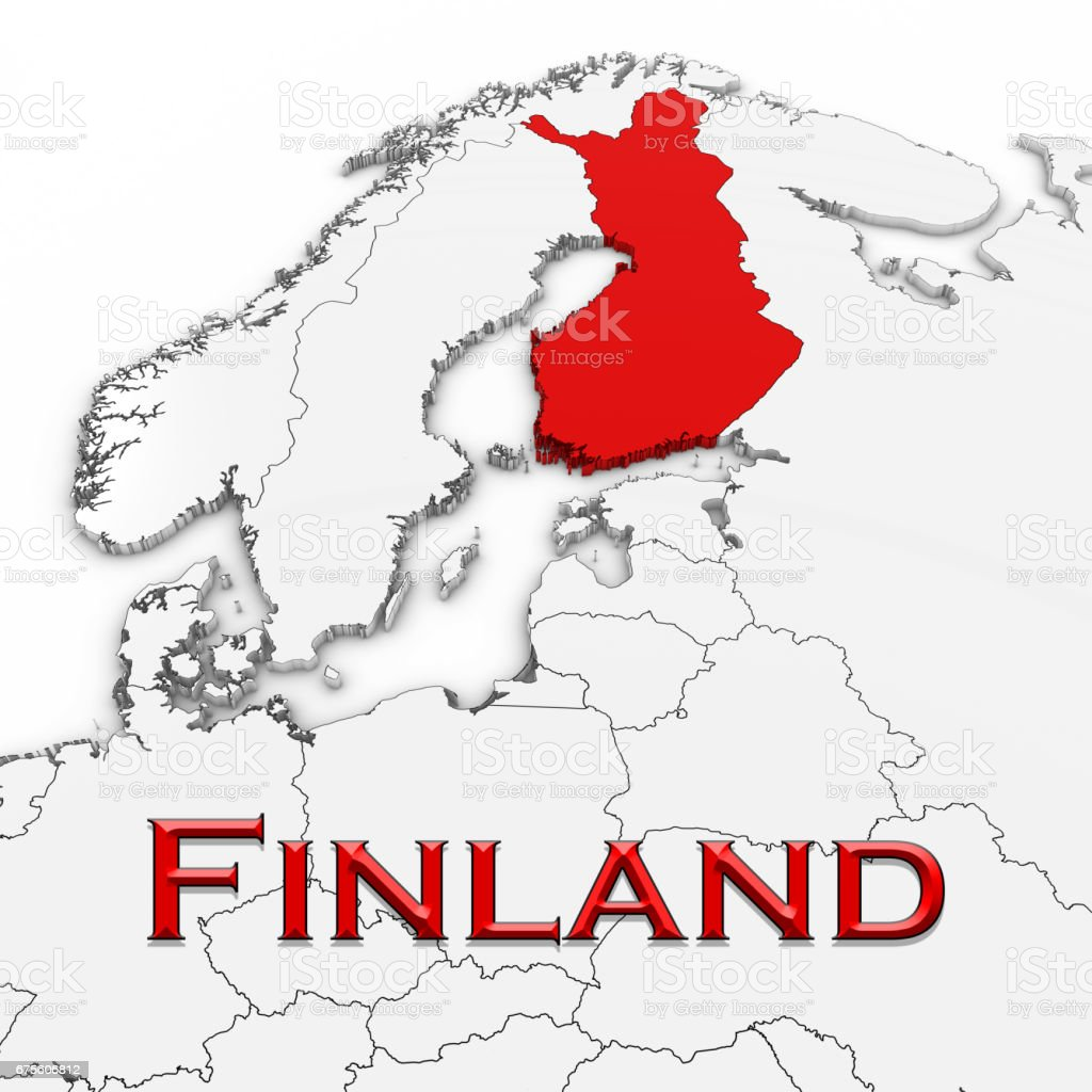 3d map of finland with country name highlighted red on white 3d map of finland with country name highlighted red on white background 3d illustration royalty gumiabroncs Images