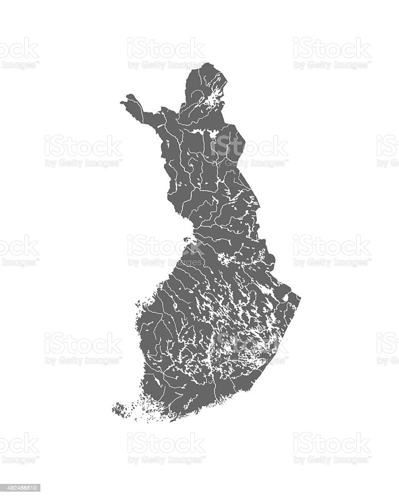 Map of Finland with lakes and rivers. stock photo
