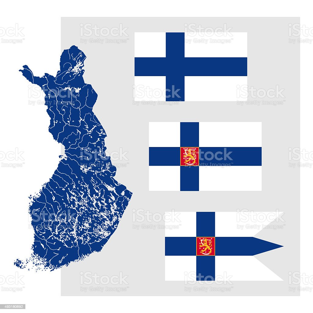 Map of Finland with rivers and three Finnish flags. stock photo