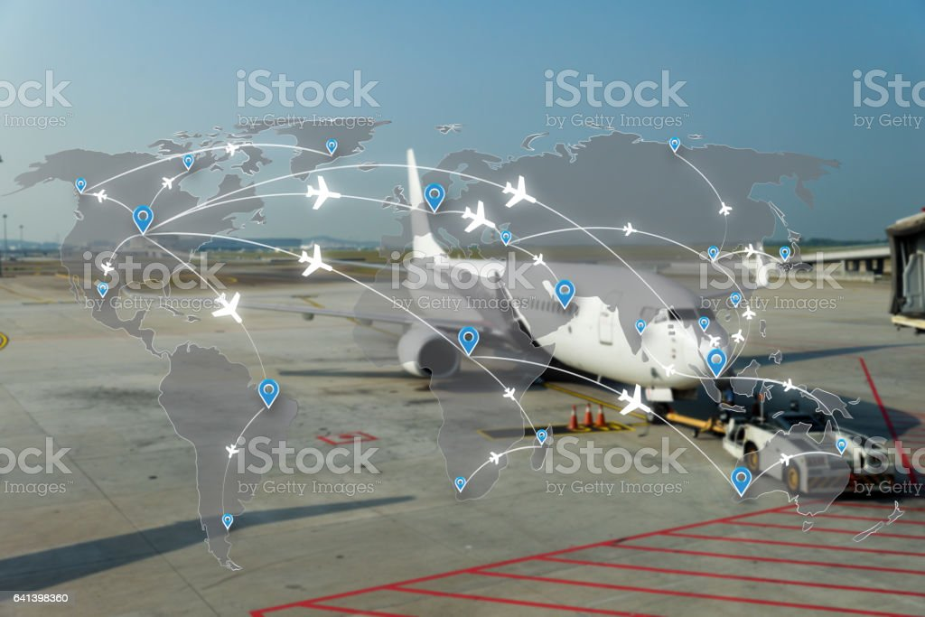 Map of flight routes airplanes network stock photo
