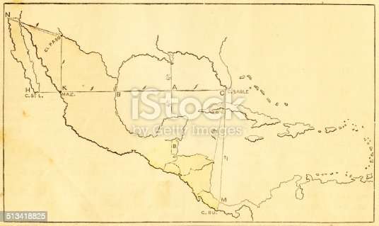 Diagram for drawing a map of Mexico and Central America on a uniform scale