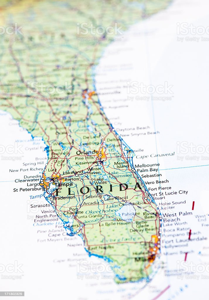 Map of Florida stock photo
