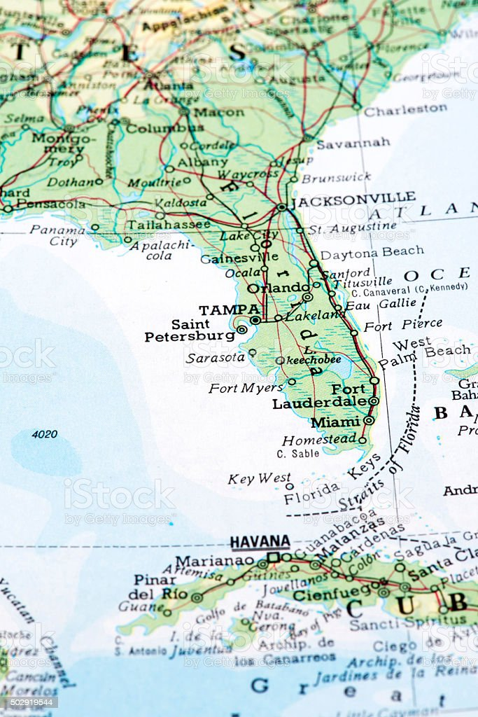Map Of Florida Usa Stock Photo - Download Image Now