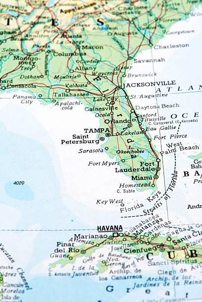 De Miami Florida Mapa De Estados Unidos Stock Fotos E Imágenes - Mapa de florida usa