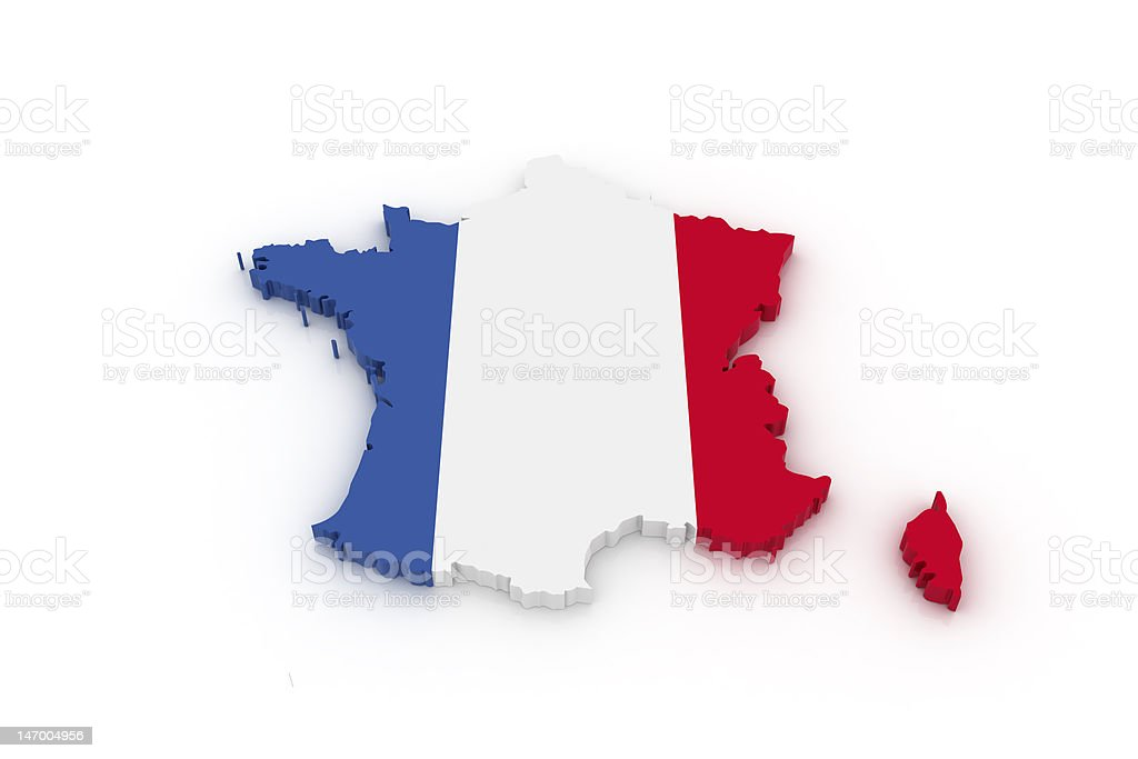 Map of France Three dimensional map of France in French flag colors. Authority Stock Photo