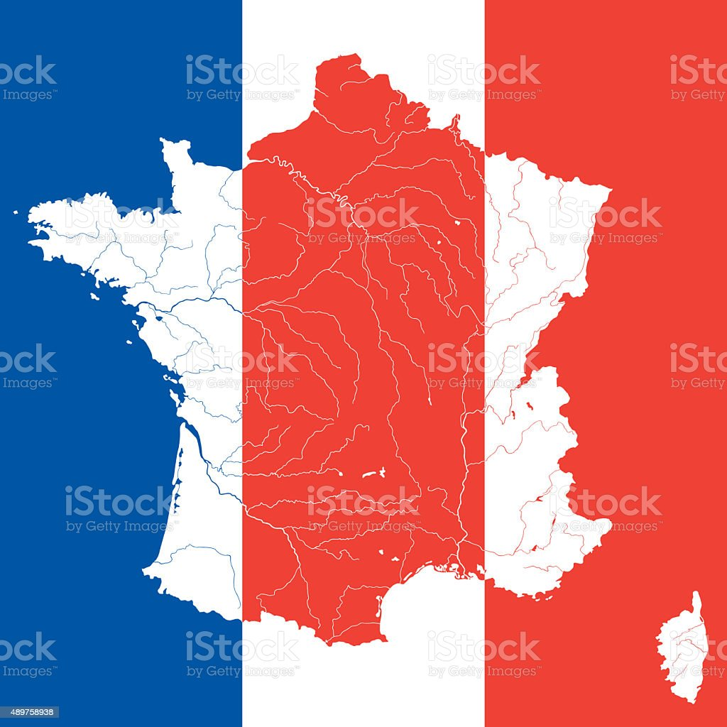 Map Of France With Rivers On The French Flag Stock Photo More - Map of france in french