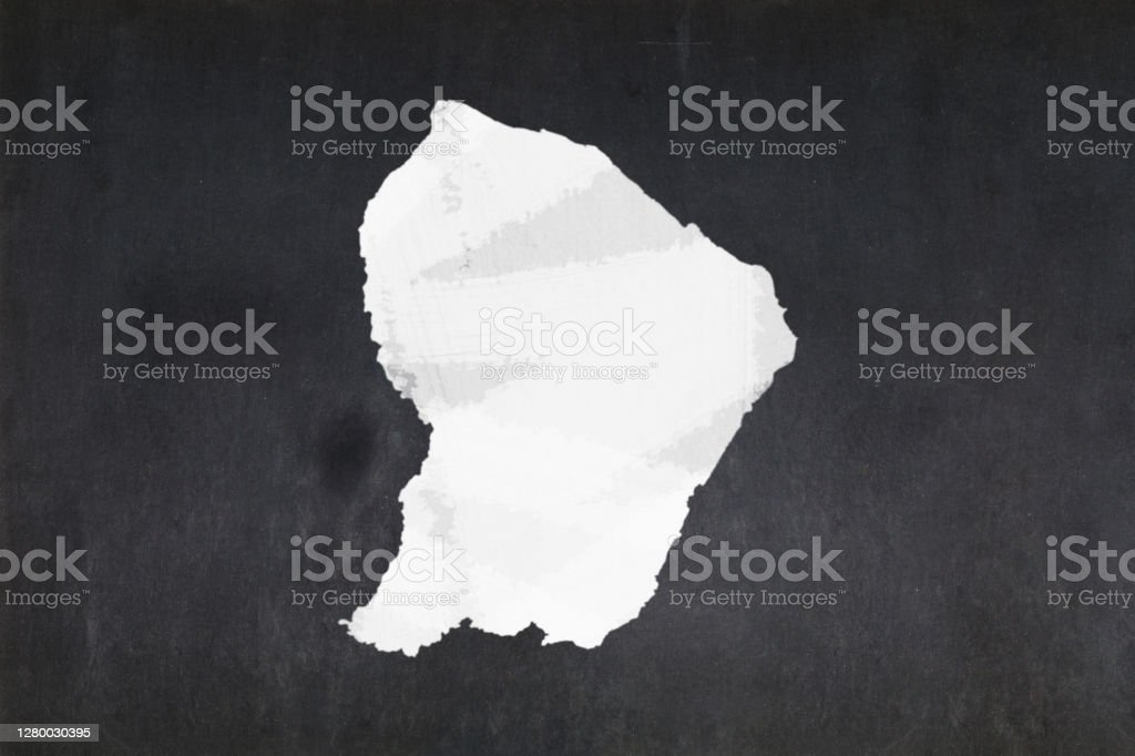 Map of French Guiana drawn on a blackboard Blackboard with a the map of French Guiana drawn in the middle. Backgrounds Stock Photo