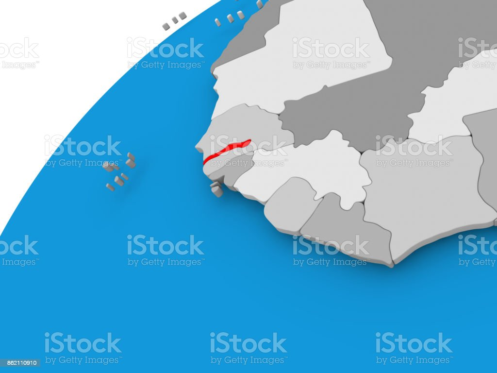 Gambia On Africa Map.Map Of Gambia In Red Stock Photo More Pictures Of Africa Istock