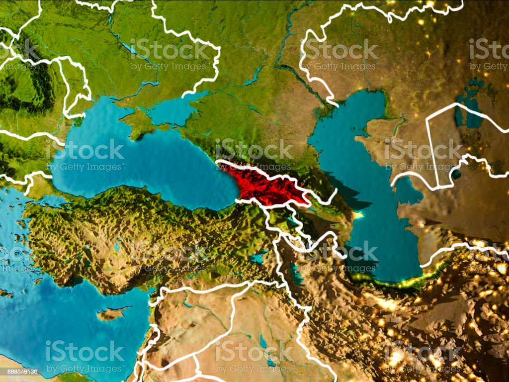 Map Of Georgia In Asia.Map Of Georgia On Earth Stock Photo More Pictures Of Asia Istock