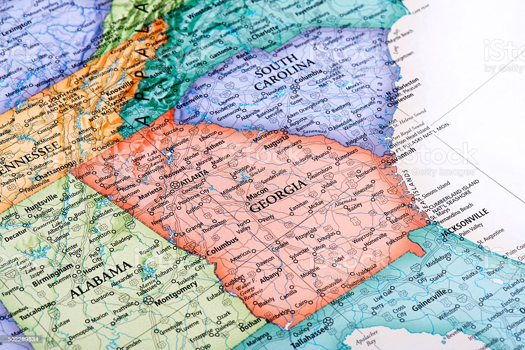 Map of Georgia State stock photo