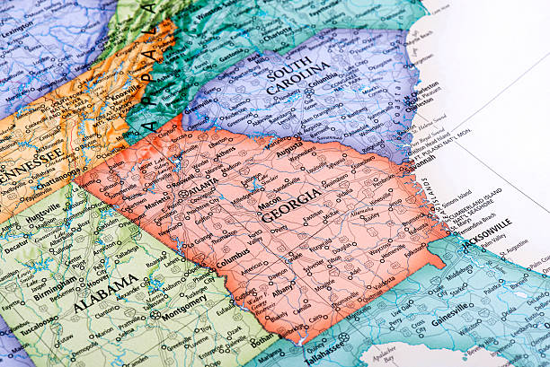 Map of Georgia State Map of Georgia State in USA. Detail from the World Map. maryland us state stock pictures, royalty-free photos & images