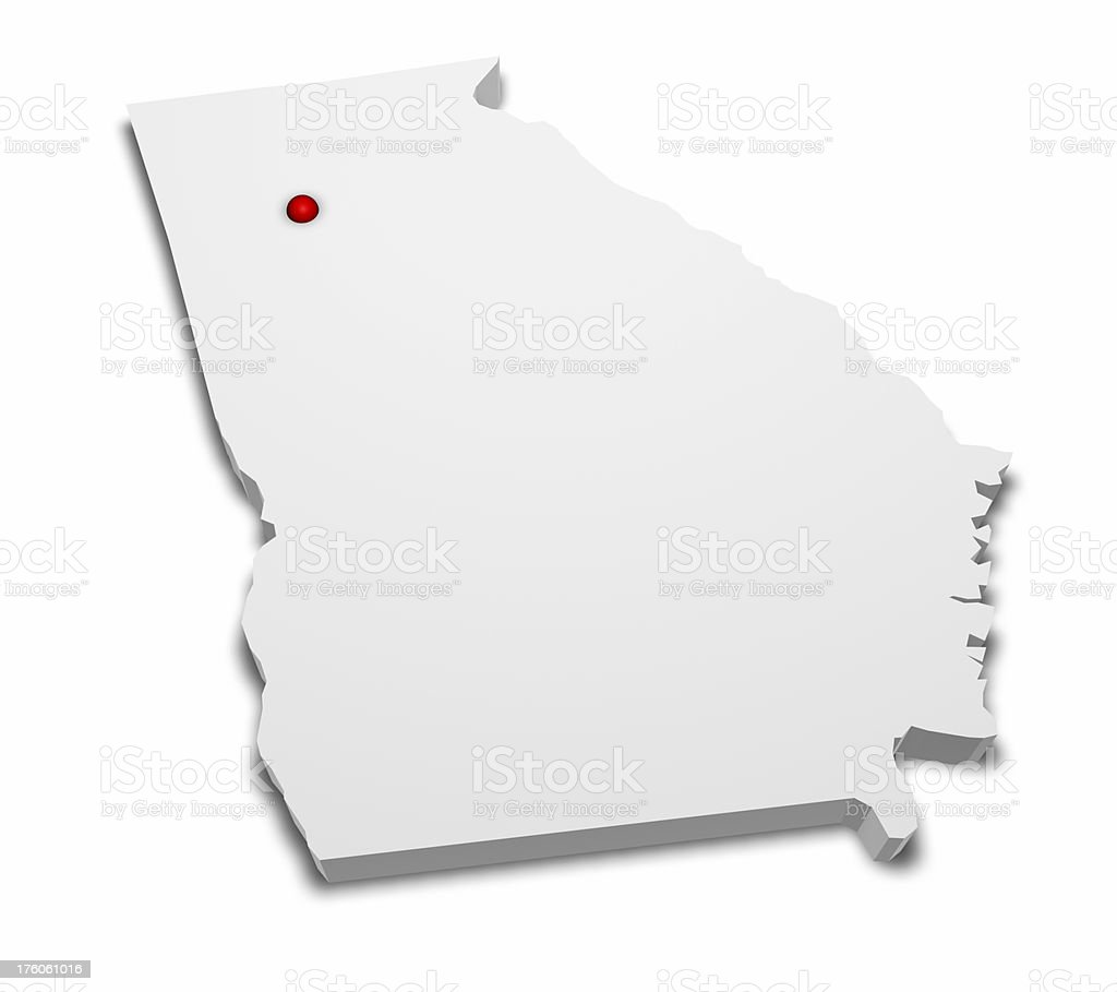 Map Of Georgia With Capital.3d Map Of Georgia With Capital City Marked Stock Photo Download