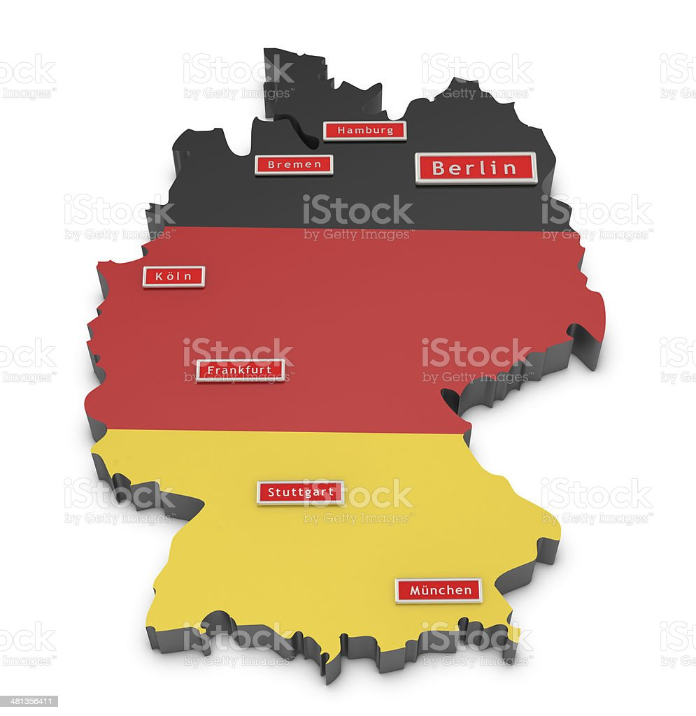 Map Of Germany Major Cities.Map Of Germany And Big Cities Stock Photo Download Image