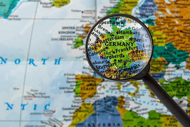 Map of Germany map of Germany through magnifying glass germany stock pictures, royalty-free photos & images