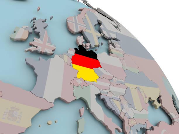 Mapa con bandera de Alemania - foto de stock