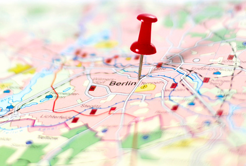 Map of Germany with pin set on Berlin