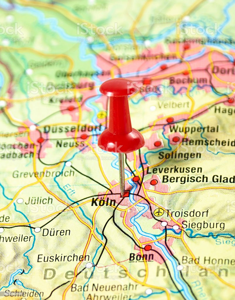 Map Of Germany Showing Cologne.Map Of Germany With Pin Set On Cologne Stock Photo Download Image