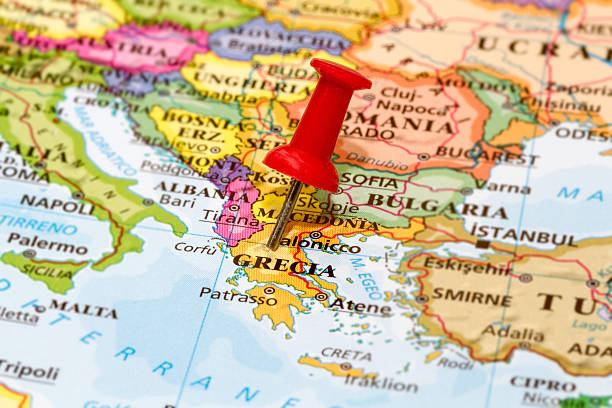 Map of Grecia with a white pushpin stuck stock photo