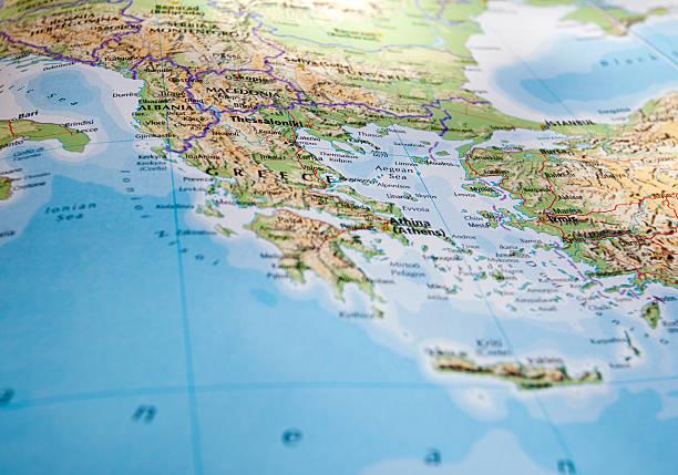 map of greece - egeiska öarna bildbanksfoton och bilder