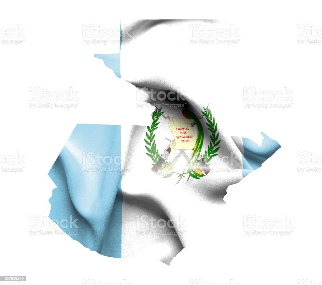 Mapa de Guatemala con bandera aislado en blanco - foto de stock