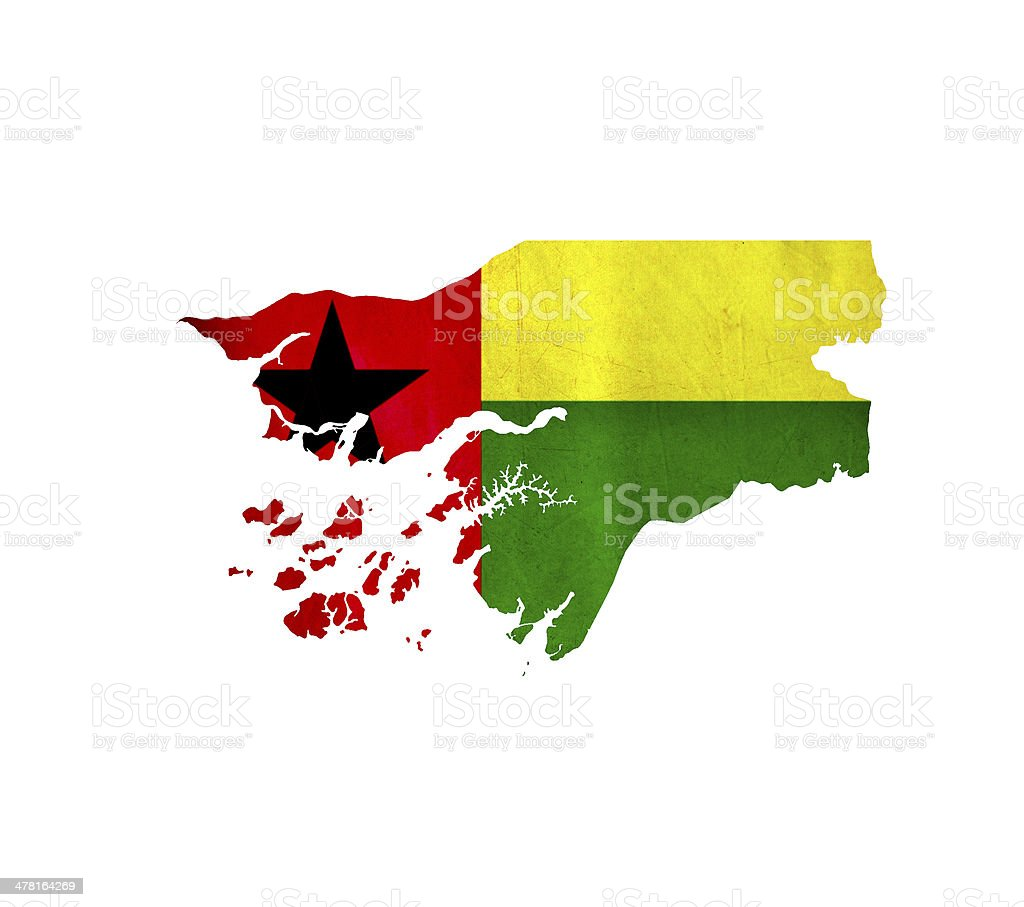Map of Guinea Bissau isolated stock photo