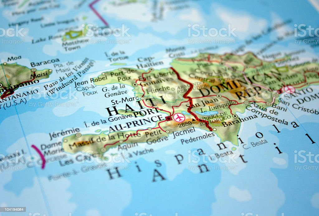 Map of Haiti and the Dominican Republic stock photo