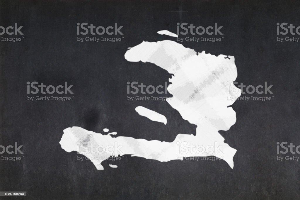 Map of Haiti drawn on a blackboard Blackboard with a the map of Haiti drawn in the middle. Backgrounds Stock Photo